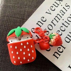 Cute Air Pods Silicone Case 3D Design Strawberry